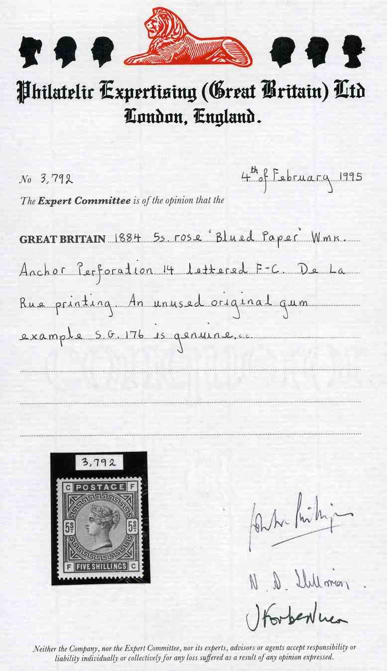 Certificate Philatelic Expertising (Great Britain)