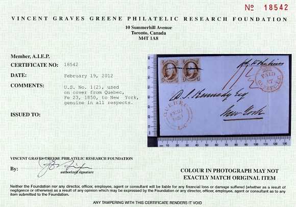 Certificate Vincent Graves Greene  Foundation